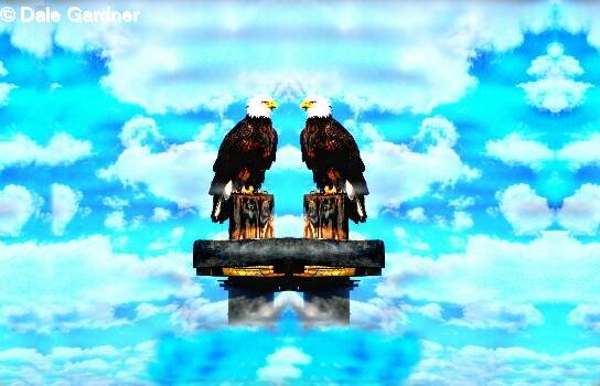 Two Bald Eagles Above The Clouds Item 002, 16 x 24 Print