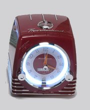 TELEMANIA Ford Thunderbird Retro Neon Alarm Clock Radio with CD Player - Red