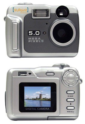 Vu Point Digital camera - point and shoot 5.0 Mpix 8 Mpix (interpolated) MMC, SD