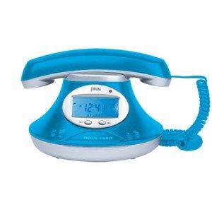 Jwin Vintage Design Jumbo Caller ID Telephone wiht Alarm Clock, Blue