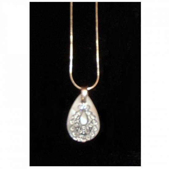 Silver Pearly Drop Sparkling Necklace Celebrity New