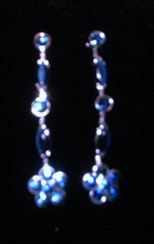 Genuine Crystal Blue Drop Earrings Earring Earing and Bracelet Set