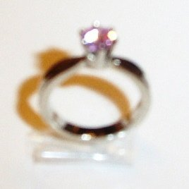 Pink Silver Ring Rings Cubic Zirconia Sz 7