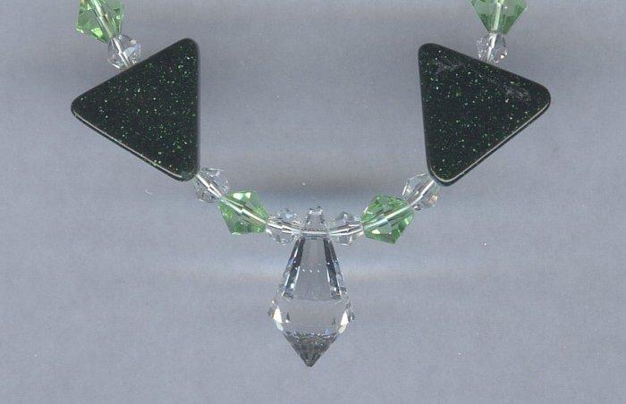Green Goldstone Necklace - Earring set