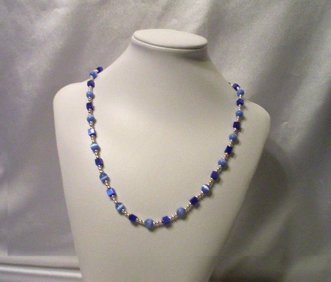 Silver and Blue Cats' Eye Necklace