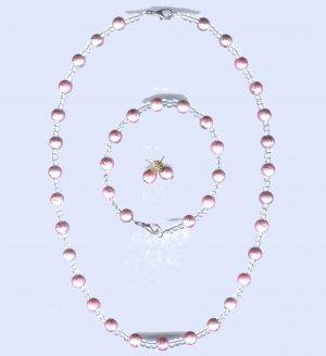Matching Bead Necklace - Bracelet - Earring Set
