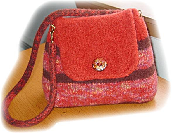 Felted Wool Purse Paprika Artist Hand Made fully lined with pocket