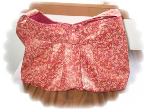 Pleated button Tote Purse rusty maroon with a metallic gold print medium/large, many extras