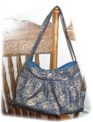 Pleated button Tote Purse, glitter gold print denim, medium/large, many extras