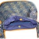 Handmade Navy and Gold metallic fabric Hobo bag purse