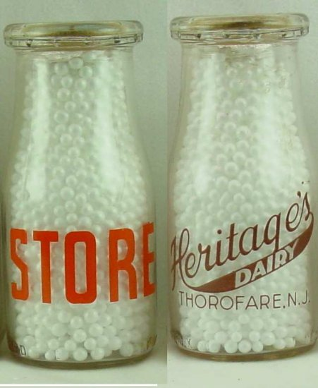 HERITAGE DAIRY, Thorofare, NJ milk bottle 2 color Mint pyro rd hp p221