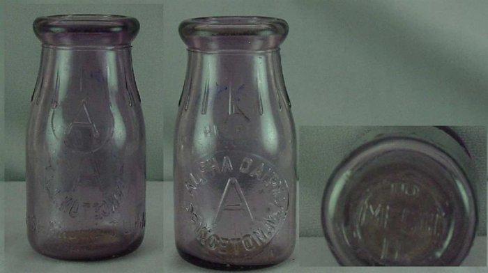 ALPHA DAIRY, Princeton, NJ � Vintage Milk Bottle � Embossed HP p485read FAQ - Thatcher Purple