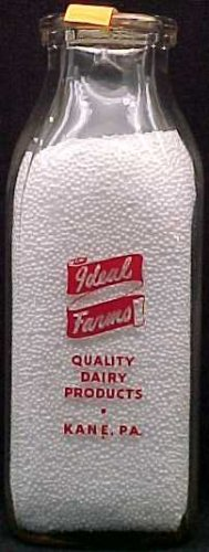 IDEAL FARMS, Kane, PA � Milk Bottle � pyr sq pint � mint p7read FAQ  2 sides same