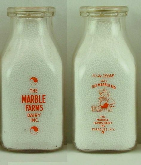 THE MARBLES FARM DAIRY INC, Sayracuse, NY Milk Bottle  The Marbles Kid p227read FAQ