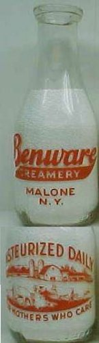 BENWARE CREAMERY, NY farm scene Milk Bottle TRPQ Mint p72read FAQ more