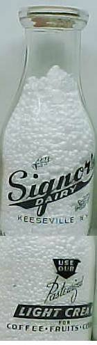 SIGNOR'S DAIRY, Keeseville, NY nice PIXS � Milk Bottle � Pyr Pt Mint p4read FAQ more