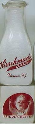 HIRSCHMAN'S DAIRY, Florence, NICE BABYPIX  Milk Bottle  Pyr Pt Mint p1read FAQ