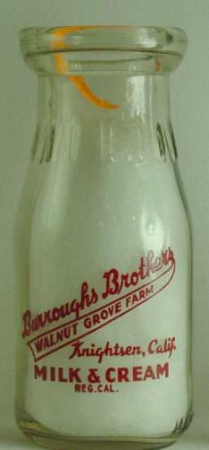 BURROUGH'S BROTHERS, Walnut Grove Farm, Knightsen, CA. Milk Bottle Pyr HP p19 read FAQ more