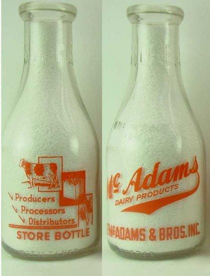 McADAMS DAIRY PRODUCTS, J.F. McAdams & Bros, Inc. PyrET Qt Mint Milk Bottle p140 read FAQ TRPQ