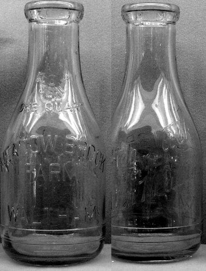"MEADOW BROOK FARM, Waltham, MASS ""Better Milk�."" Mass O Seal � Milk Bottle ER Qt Mint p384FAQ"