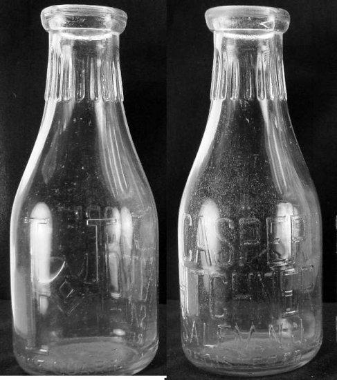CASPER HITCHNER, Salem, nj big H obv & bottom  Milk Bottle EmbRd Qt Con E p606read FAQ