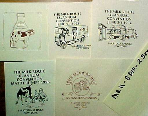 MILK ROUTE CONVENTION ENVELOPES 5 DIF. CONV. 10, 11, 13, 14, 16  mr11 No Stamps MORE . . . .