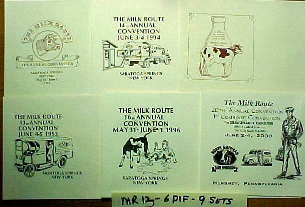 MILK ROUTE CONVENTION ENVELOPES 6 DIF. CONV. 10,11,13,14,16,20  mr13 No Stamps MORE . . . .