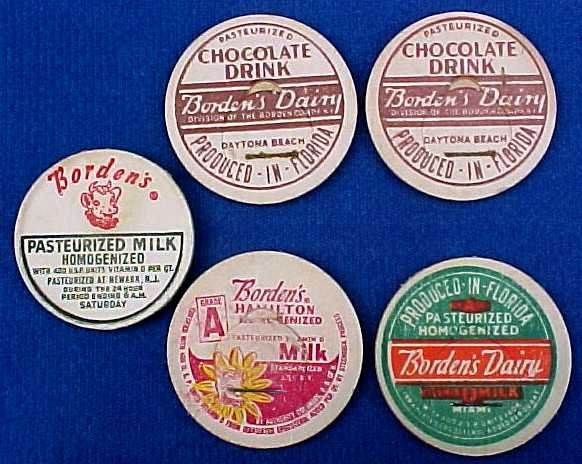 BORDEN CREAMER MILK BOTTLE CAPS ASSORTMENT OF 5 Milk Bottle CAPS 1 5/16 eb8-READ FAQ