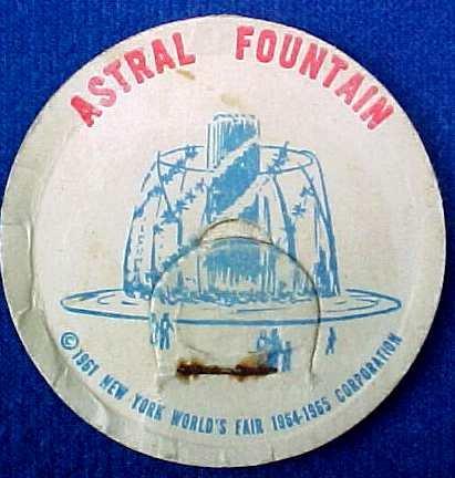 ASTRAL FOUNTAIN NEW YORK WORLD�S FAIR MILK BOTTLE CAP sp9-read FAQ more .. . .