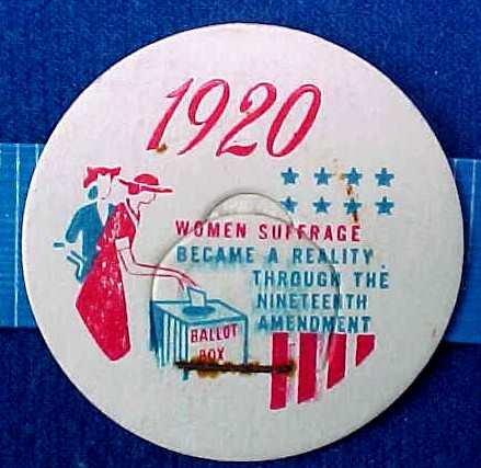 WOMEN SUFFRAGE, 1920 HISTORICAL MILK BOTTLE CAP sp-20-xread