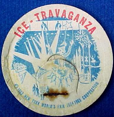 ICE TRAVAGANZA, NY WORLDS FAIR, 1963 HISTORICAL MILK BOTTLE CAPS sp14-read FAQ more . . . .