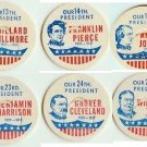 Fillmore, Pierce, Johnson, Harrison, Cleveland, Taft, SET OF 6 Presidents Caps pLsA-more
