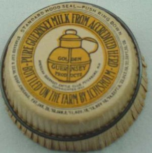 J. CHISHOLM PURE GUERNSEY PRODUCTS, METAL RING, MILK BOTTLE CAP, Mc44-Quantities available readon