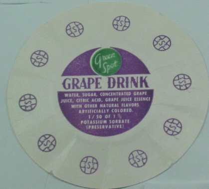 GREEN SPOT, GRAPE DRINK, MILK BOTTLE CAP, Mc3-Quantities available