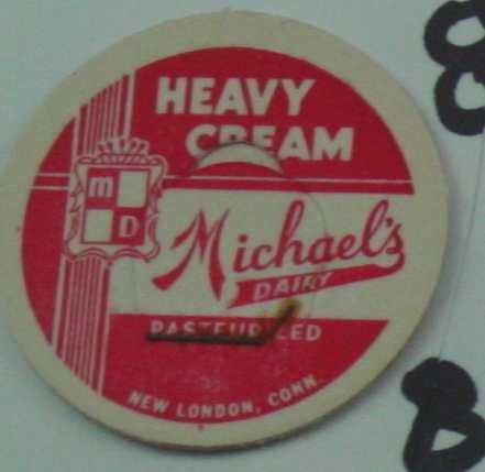 MICHAELS DAIRY, HEAVY CREAM, CONN., MILK BOTTLE CAP, Mc8-Quantities available read on