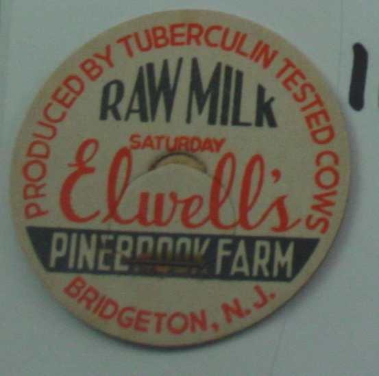 ELWELLS PINEBROOK FARM, NJ, RAW MILK, MILK BOTTLE CAP, Mc11-Quantities available read on