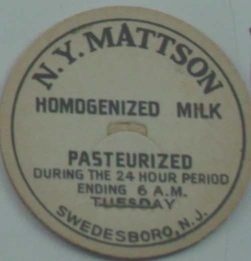 NY MATTISON, NJ, HOMOGINIZED MILK, MILK BOTTLE CAP, Mc13-Quantities available read on