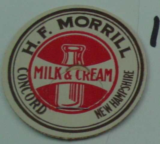 H. F. MORRILL, HEAVY CREAM, MILK BOTTLE CAP, Mc14-Quantities available read on