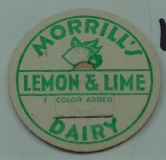 MORRILLS DAIRY, LEMON and LIME, MILK BOTTLE CAP, Mc15-Quantities