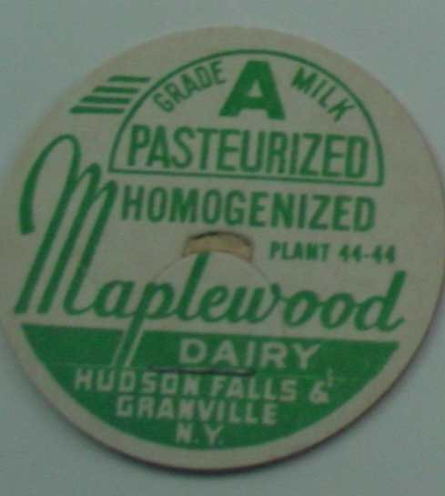 MAPLEWOOD DAIRY, NY, GRADE A PAST. HOMOG., MILK BOTTLE CAP, Mc17-Quantities available read on