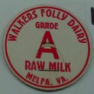 WALKERS FOLLY DAIRY, VA, GRADE A RAW MILK, MILK BOTTLE CAP, Mc19-Quantities available read on