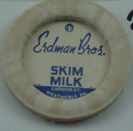 ERDMAN BROS, PA., SKIM MILK, MILK BOTTLE CAP, Mc21-Quantities available read on