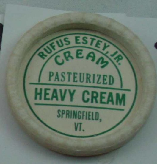 RUFUS ESTEY JR, VT., HEAVY CREAM, MILK BOTTLE CAP, Mc22-Quantities available read on