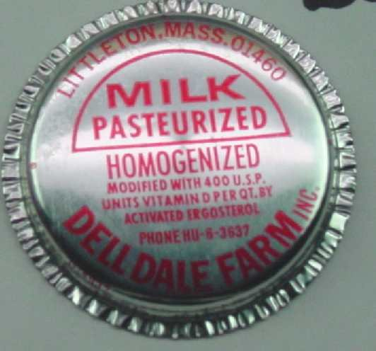Dell Dale Farms, Mass., Silver Aluminum Cap,  MILK BOTTLE CAP, Mc26