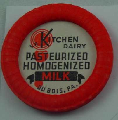 S. R. KITCHEN DAIRY, DUBOIS, PA., PAST. HOMOG. MILK, MILK BOTTLE CAP, Mc28-Quantities avail