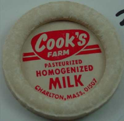 COOK�S FARM, CHARLTIN, MASS., PAST. HOMOG. MILK, MILK BOTTLE CAP, Mc29-Quantities avail