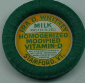 IRA D. WHITNEY, STAMFORD, VT., MILK BOTTLE CAPS, Mc31-Quantities avail