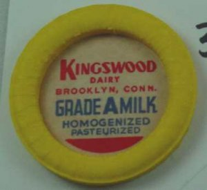 KINGSWOOD DAIRY, BROOKLYN, CONN, GRADE A MILK, MILK BOTTLE CAPS, Mc34-Quantities avail