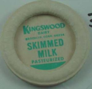 KINGSWOOD DAIRY, BROOKLYN, CONN, SKIMMED MILK, MILK BOTTLE CAPS, Mc35-Quantities avail