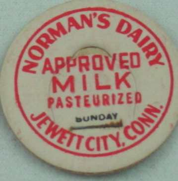 NORMAN�S DAIRY, JEWITT CITY, CONN, APPROVED MILK, CREAMER CAP, MILK BOTTLE CAP, Mc38-read FAQ